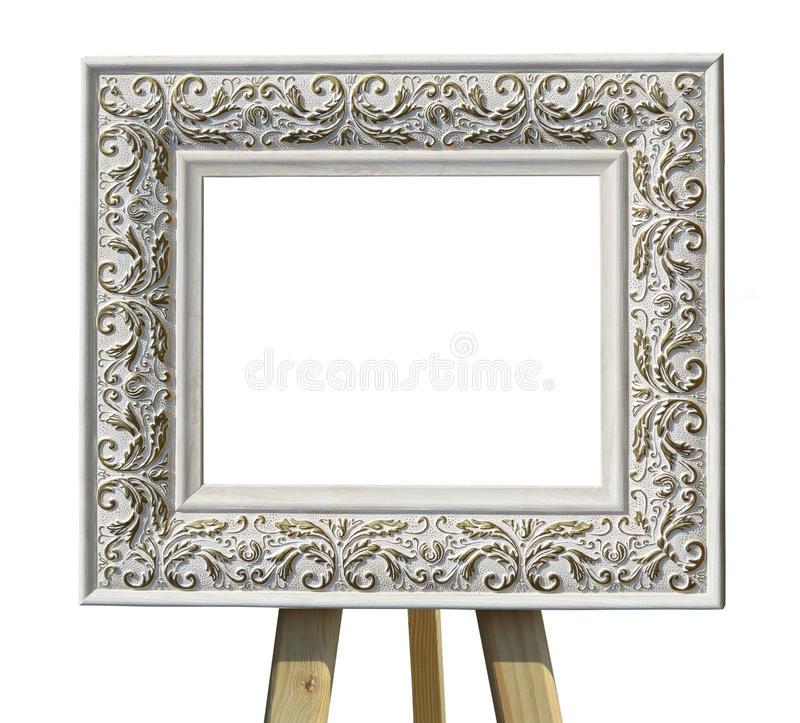 Old Vintage Ornate White Picture Frame On A Stand With Pattern I ...