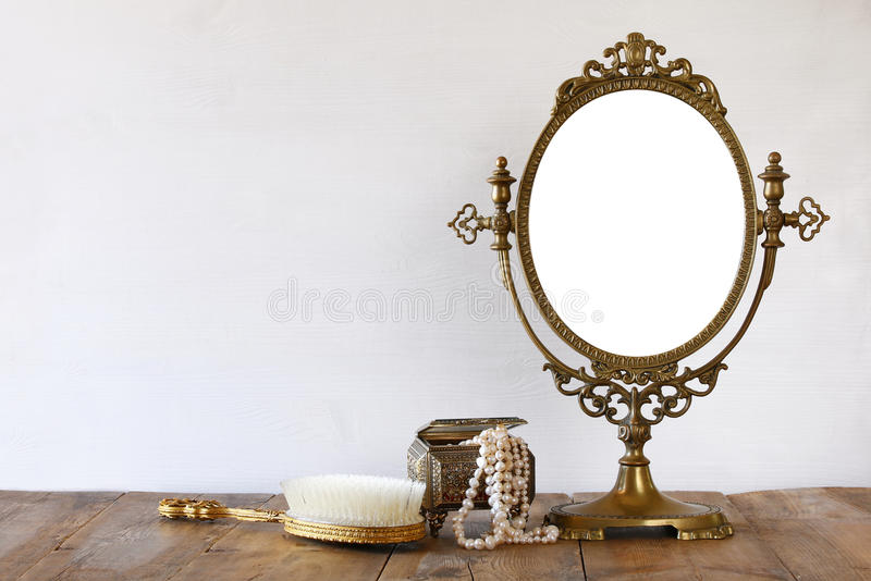Download Old Vintage Oval Mirror And Woman Toilet Fashion Objects Stock Photo - Image of looking, desk: 80905606