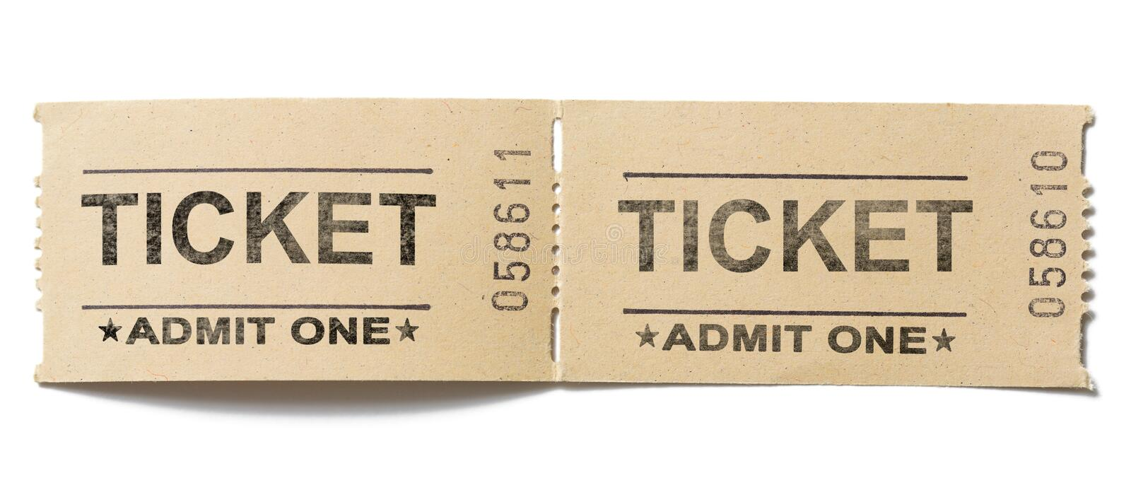 Old vintage paper tickets pair isolated stock images