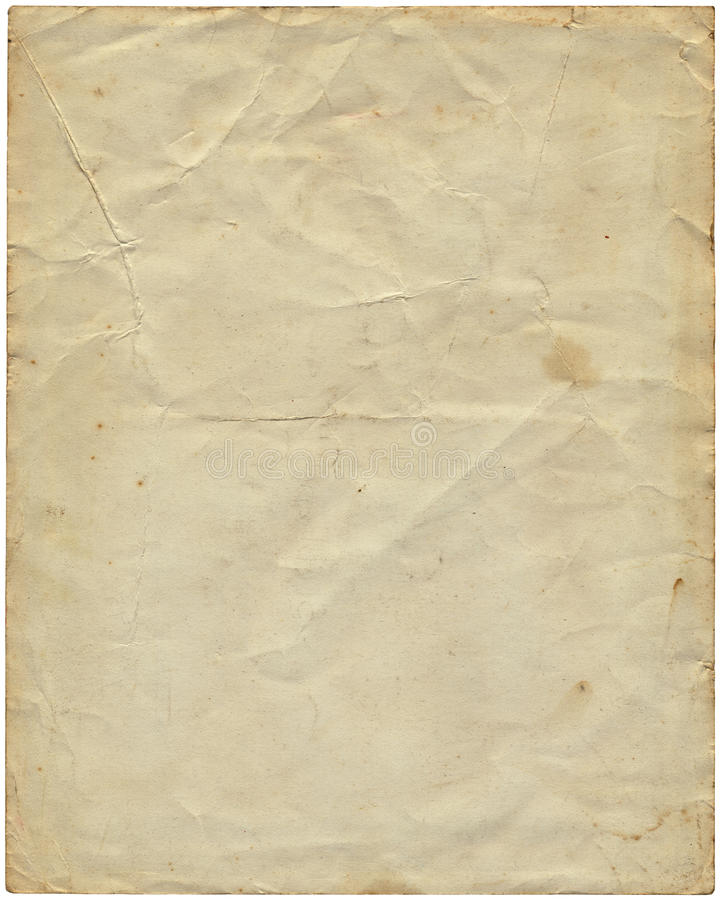 Old vintage paper from 1977. Old vintage yellowing paper from 1977 isolated on white stock photo