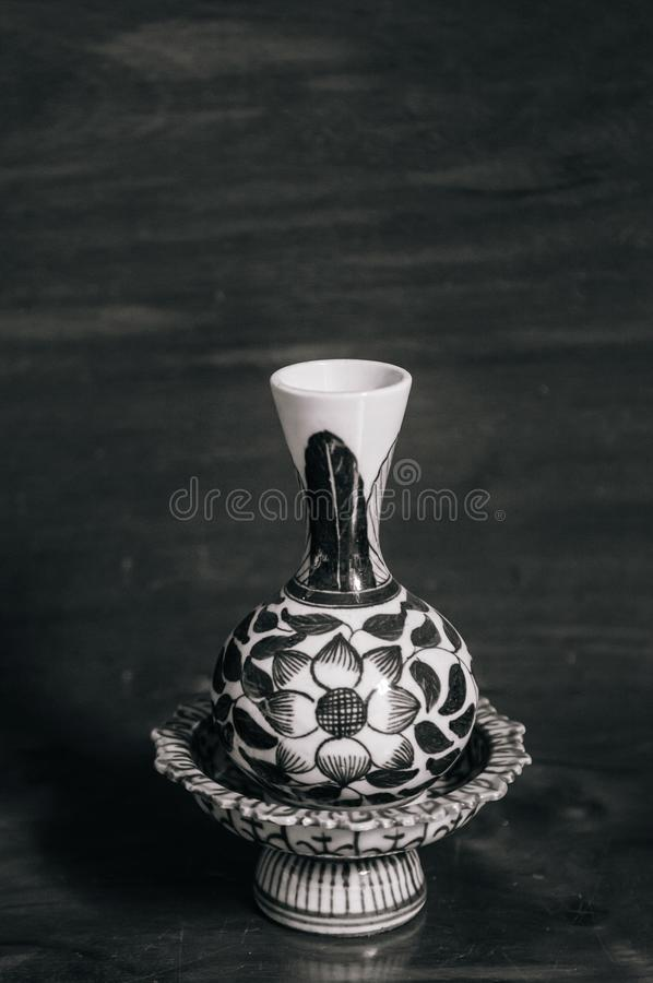 Old vintage pedestal tray and vase China ware, Chinese porcelain royalty free stock images