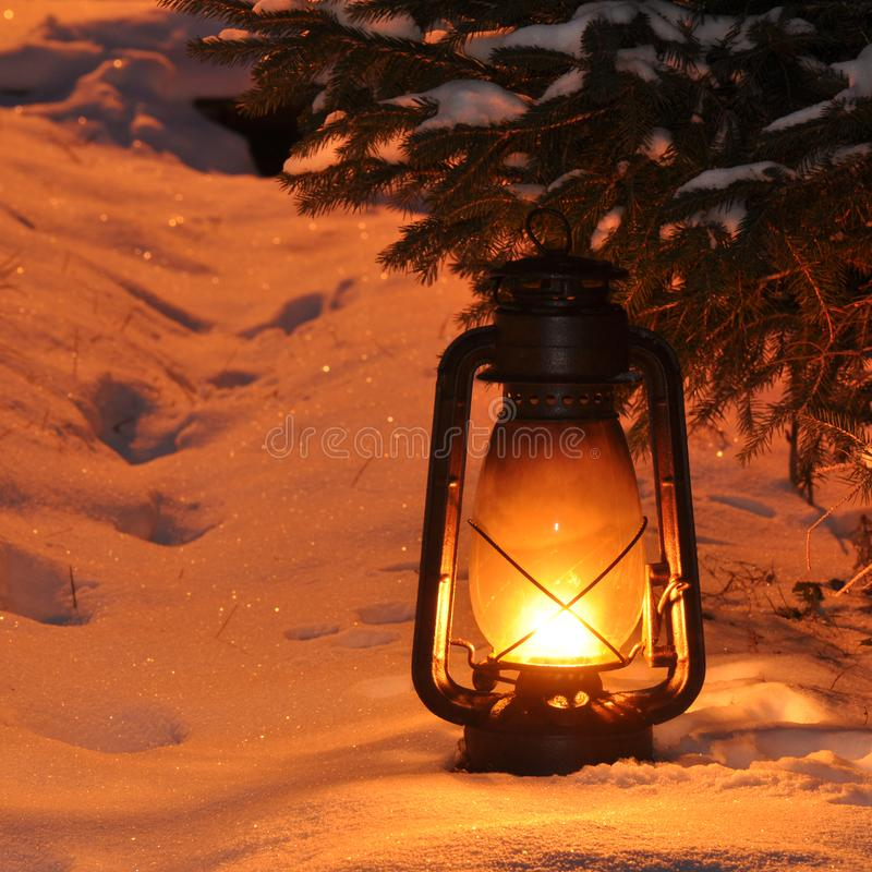 Free Old Vintage Petrol Lamp With Light On Royalty Free Stock Images - 110973069
