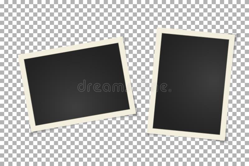 Old vintage photo frame on transparent background. Horizontal and vertical blank old photography on sticky tape. Scrapbook design. Vector illustration stock illustration