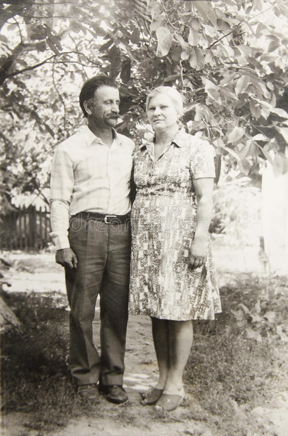 Old vintage photograph couples in love royalty free stock image