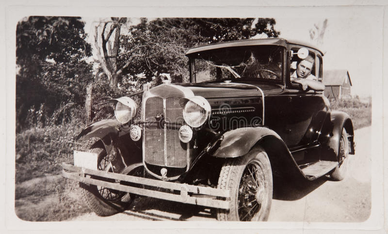 Download Old Vintage Model T Car Young Man Photograph Stock Photo - Image of adult, young: 21043662