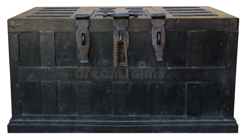 Old Vintage Pirate Treasure Chest Iron Strong Box royalty free stock photography