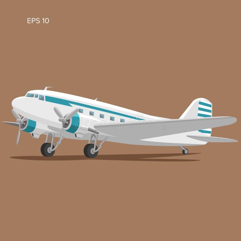Free Old Vintage Piston Engine Airliner. Flat Design Aircraft Vector Illustration Stock Image - 138651441
