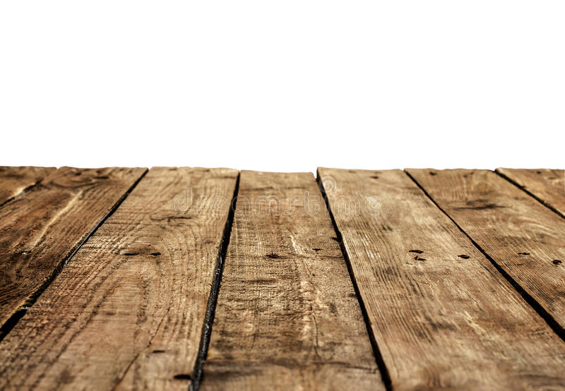 Old Vintage Planked Wood Table In Perspective On White Stock Photo