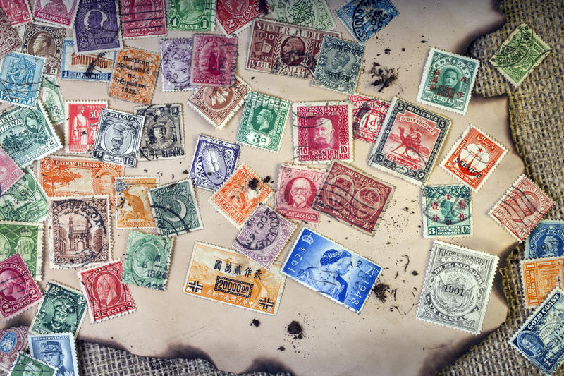 Old Vintage Postage Stamps. Selection of very old vintage postage stamps - Philately royalty free stock image