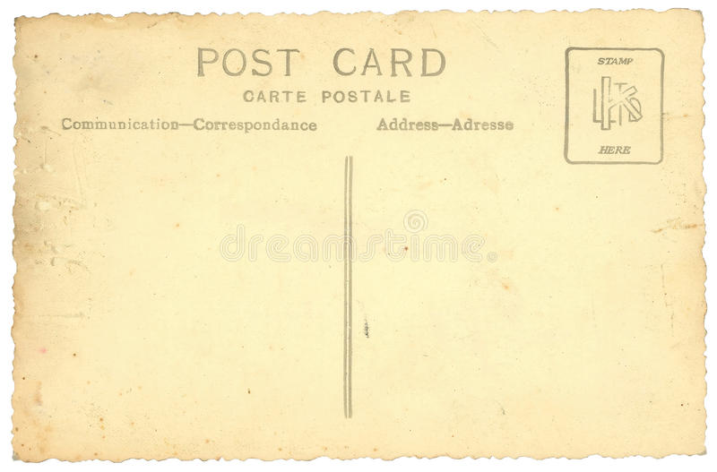 Old vintage postcard isolated on white stock illustration