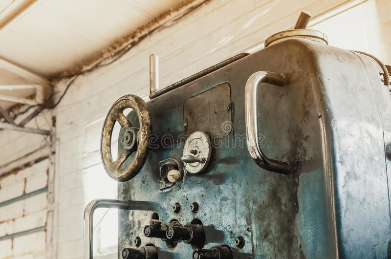Old vintage printing machine in the print shop. Magazine, newspaper, brochure, paint. Old vintage printing machine in print shop. Magazine, newspaper, brochure royalty free stock photos