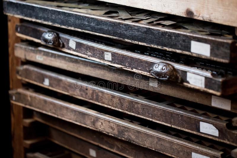 Old Vintage Printing Press for newspaper letters books royalty free stock photography