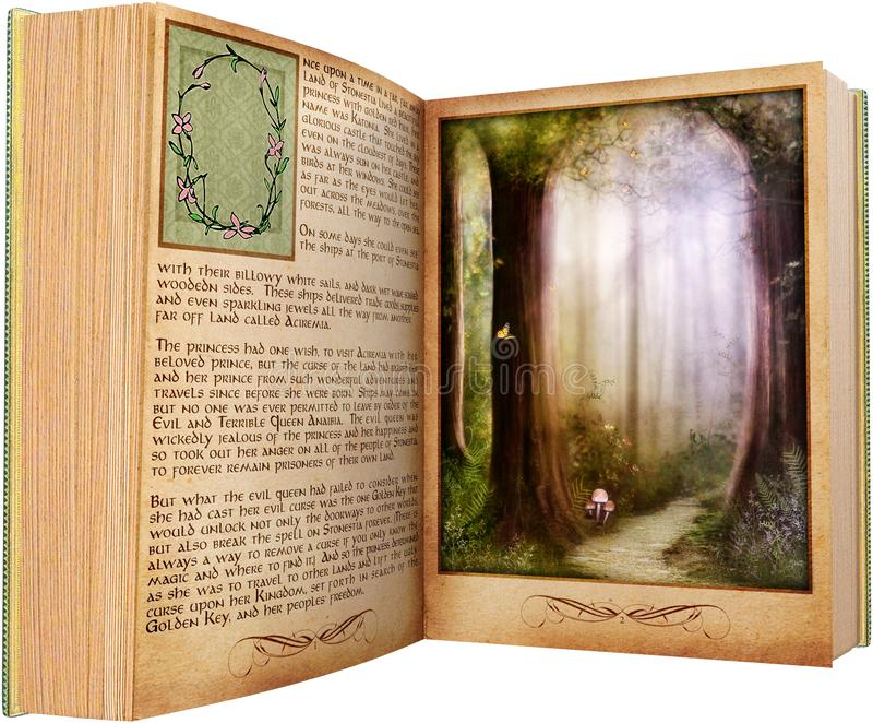 Reading Book, Read Story, Isolated. Old vintage reading book. It`s story time as people go through the pages and use their imagination. Isolated on white, PNG vector illustration
