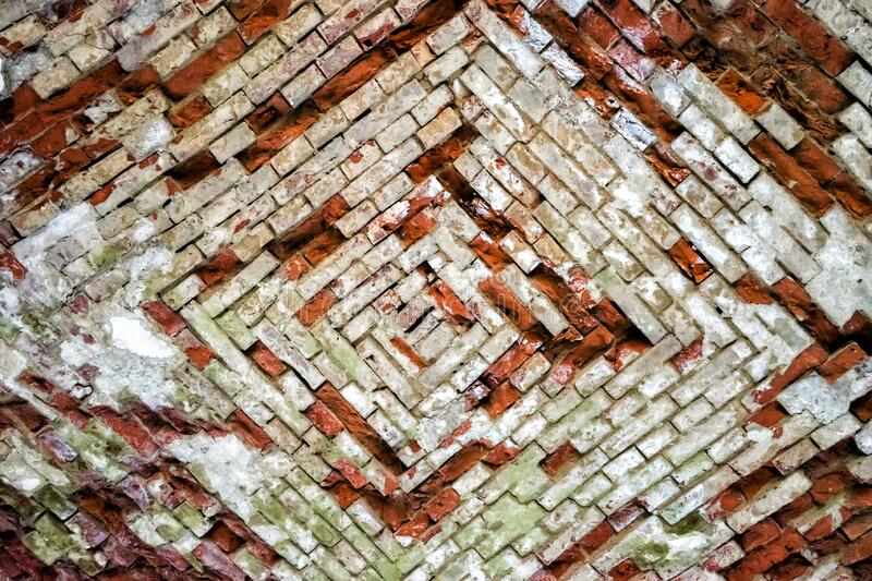 Old Vintage Red Brick Wall With Crashed White Plaster Texture Background. Red White Retro Building Wallpaper. Grunge Street stock images