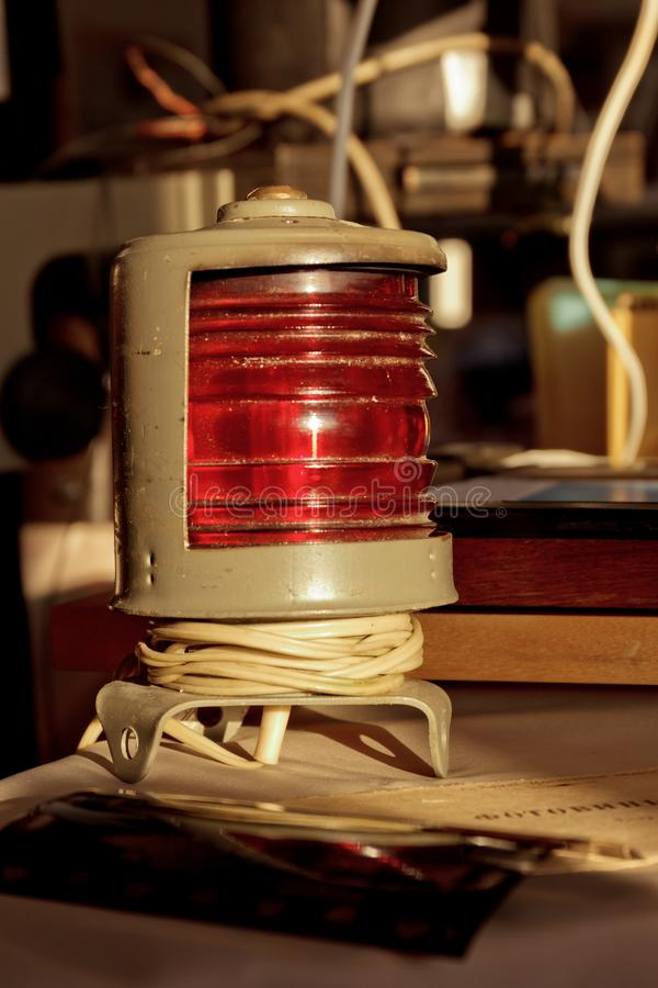 Old vintage red light as photographic equipment royalty free stock photos