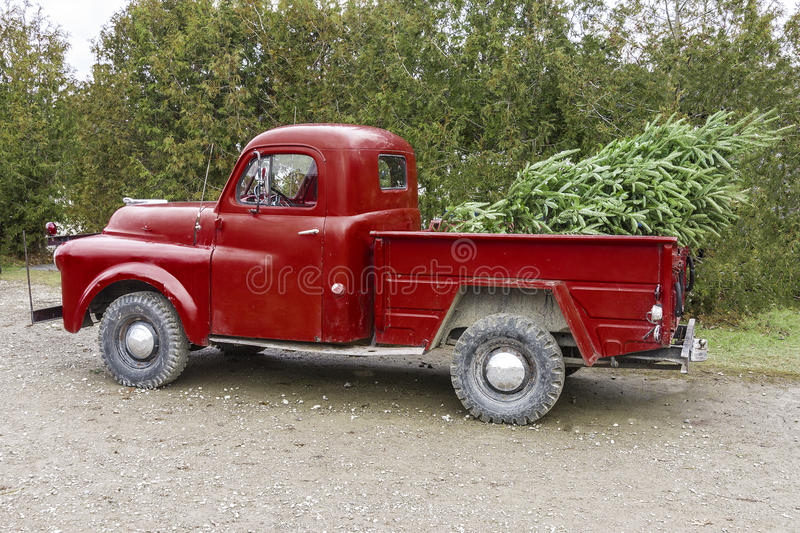 Free Christmas Tree Pick Up Part - 39: Download Old Vintage Red Pickup Truck Carrying A Christmas Tree In The Be  Stock Photo -