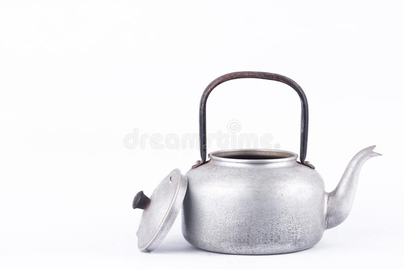 Old vintage retro Kettle on white background drink isolated front view. Which, kettle made of aluminum materials. royalty free stock photography