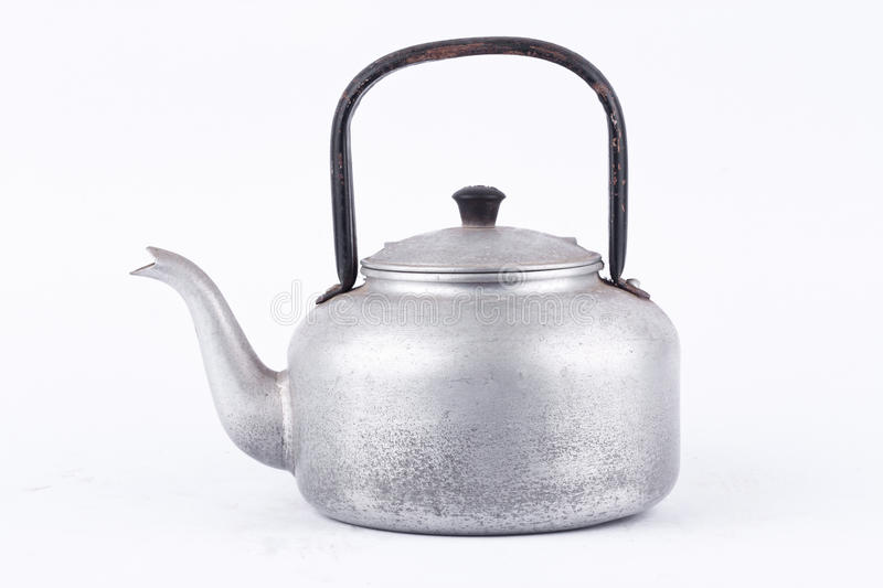 Old vintage retro Kettle on white background drink isolated (side view) . Which, kettle made of aluminum materials. stock images