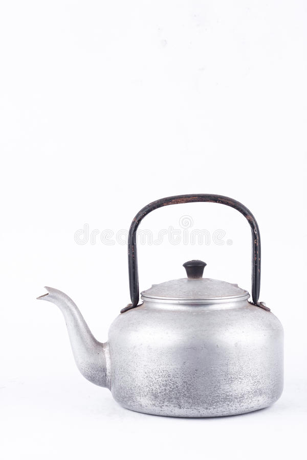 Old vintage retro Kettle on white background drink isolated side view . Which, kettle made of aluminum materials. royalty free stock photography