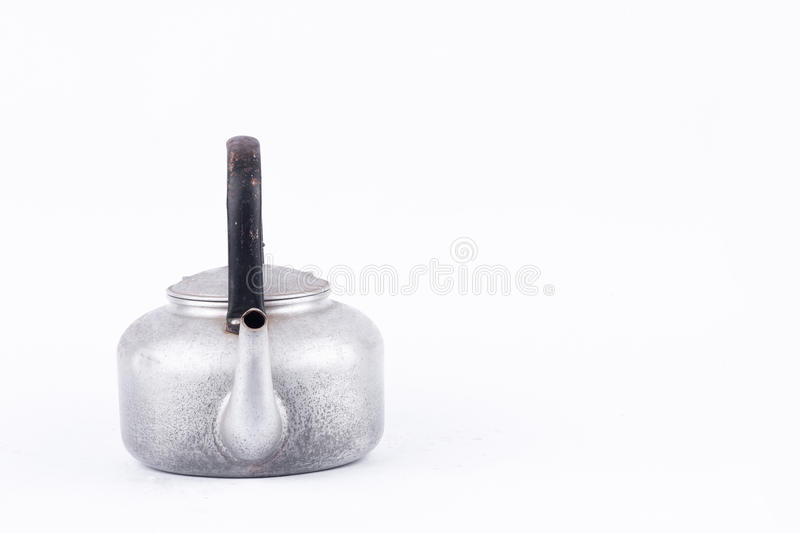 Old vintage retro Kettle on white background drink isolated side view . Which, kettle made of aluminum materials. royalty free stock images