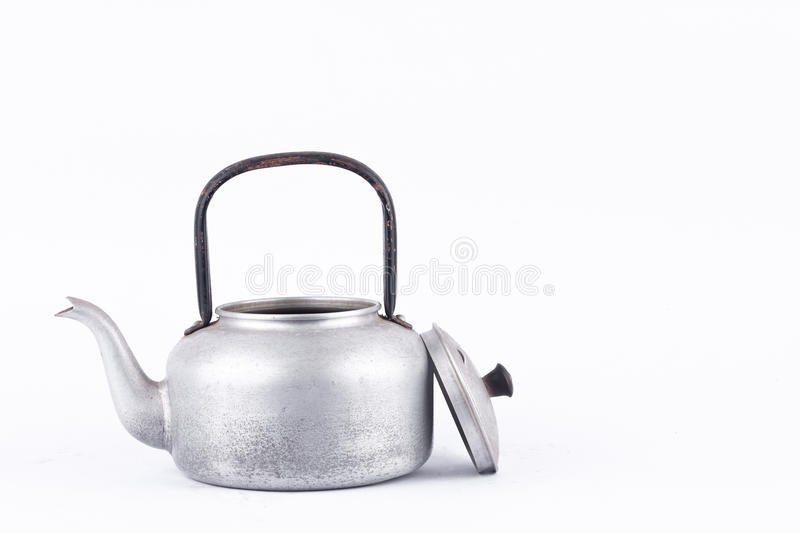Old vintage retro Kettle on white background drink isolated ( still life). Which, kettle made of aluminum materials. royalty free stock photos