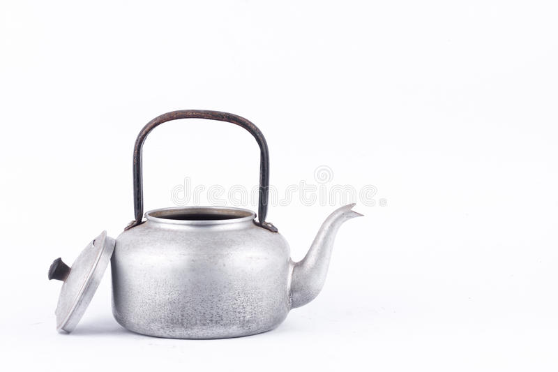 Old vintage retro Kettle on white background drink isolated water boiler . Which, kettle made of aluminum materials. stock images