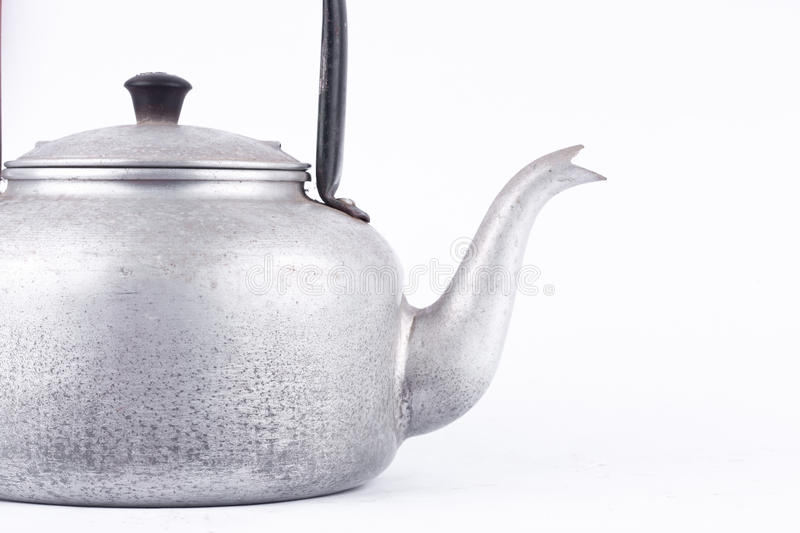 Old vintage retro Kettle on white background drink isolated . Which, kettle made of aluminum. stock image