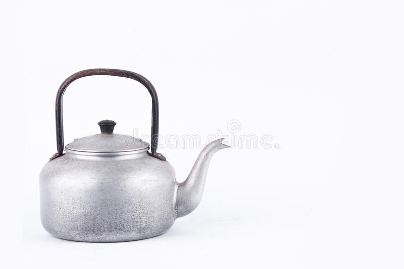 Old vintage retro Kettle on white background drink isolated . Which, kettle made of aluminum materials. stock photo