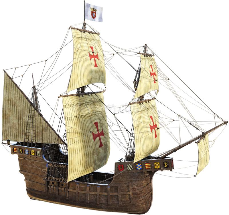 Spanish Galleon, Sailing Ship, Isolated. Old vintage retro tall sailing ship. The ocean going vessel is a Spanish galleon and isolated on white. PNG file royalty free stock images