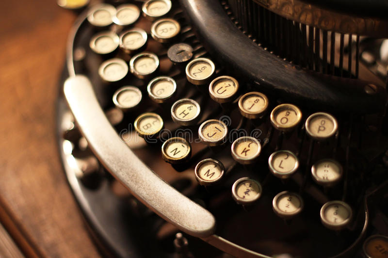 Old vintage retro wooden typewriter. On the table royalty free stock photos