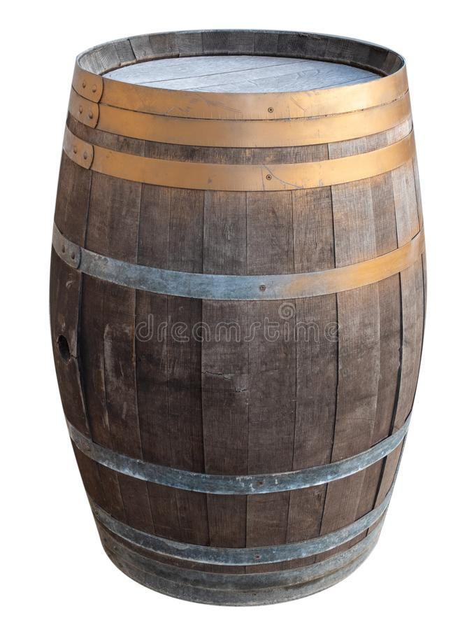 Old vintage retro wooden wine barrel with metallic iron rings isolated cutout on white background royalty free stock images