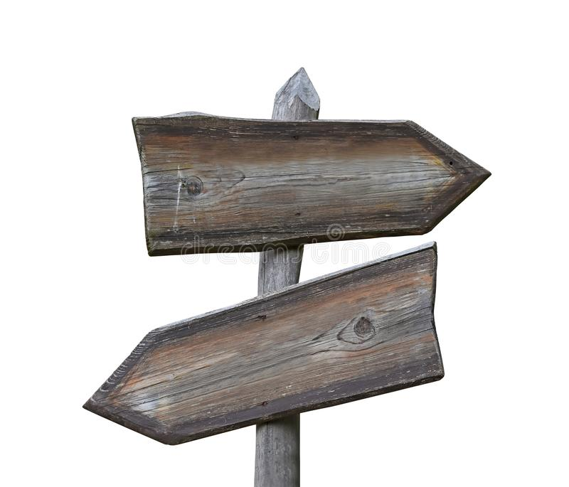 Old wooden road sign with two arrows isolated royalty free stock image