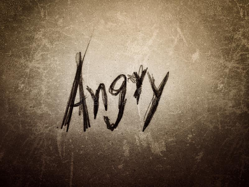 old vintage rough scratch background the word angry stock image