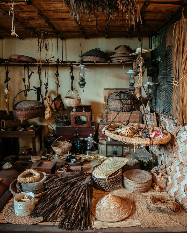 Old vintage rustic Japanese household equipment and tool stock image