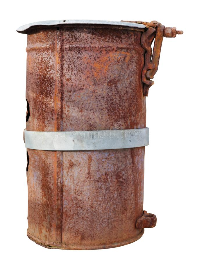 Old vintage rusty can canister for gasoline and diesel isolated royalty free stock images