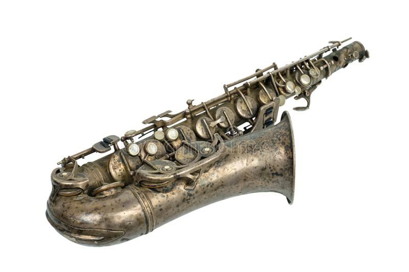 Old vintage saxophone royalty free stock photography