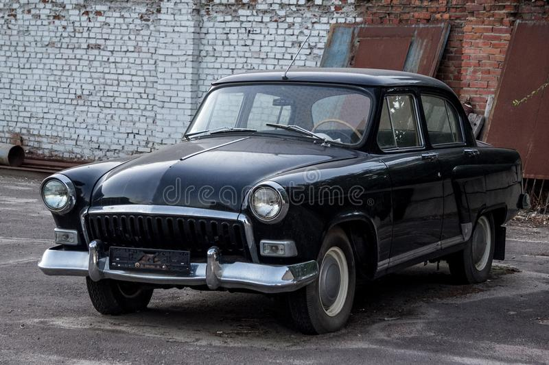 Old vintage soviet black retro car royalty free stock images
