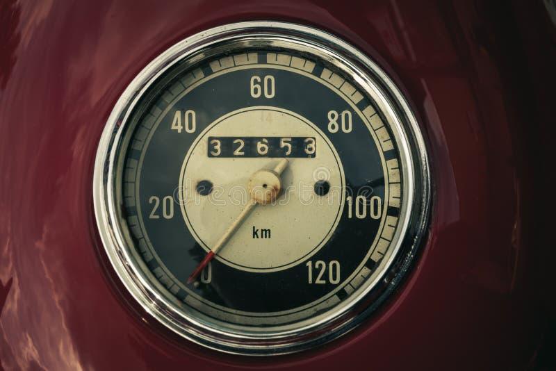 Old vintage speedometer stock photo