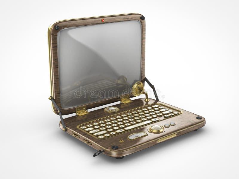 Old vintage steam punk laptop computer stock illustration