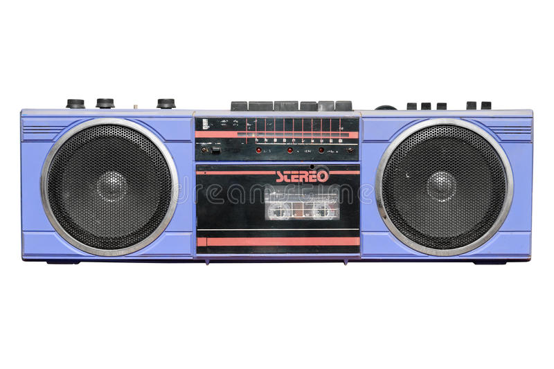 Old vintage stereo cassette/radio recorder royalty free stock photo