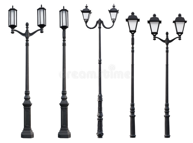 Old Vintage Street Lamp Post. Aet of Old Vintage Street Lamp Post Lamppost Light Pole isolated on white royalty free stock photography