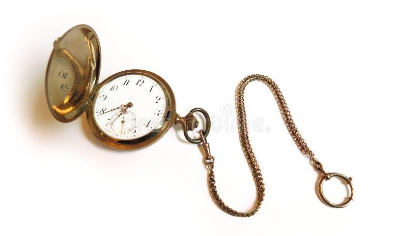 Old vintage style golden savonette pocket watch stock photography