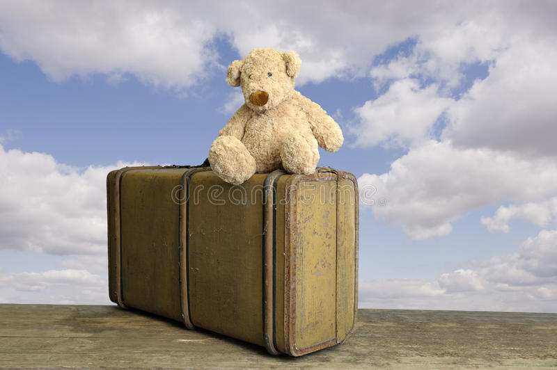 Old Vintage Suitcase With Teddy Stock Photography
