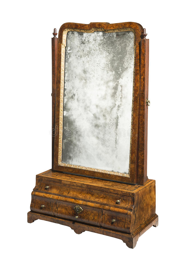 Old vintage table box mirror stock image