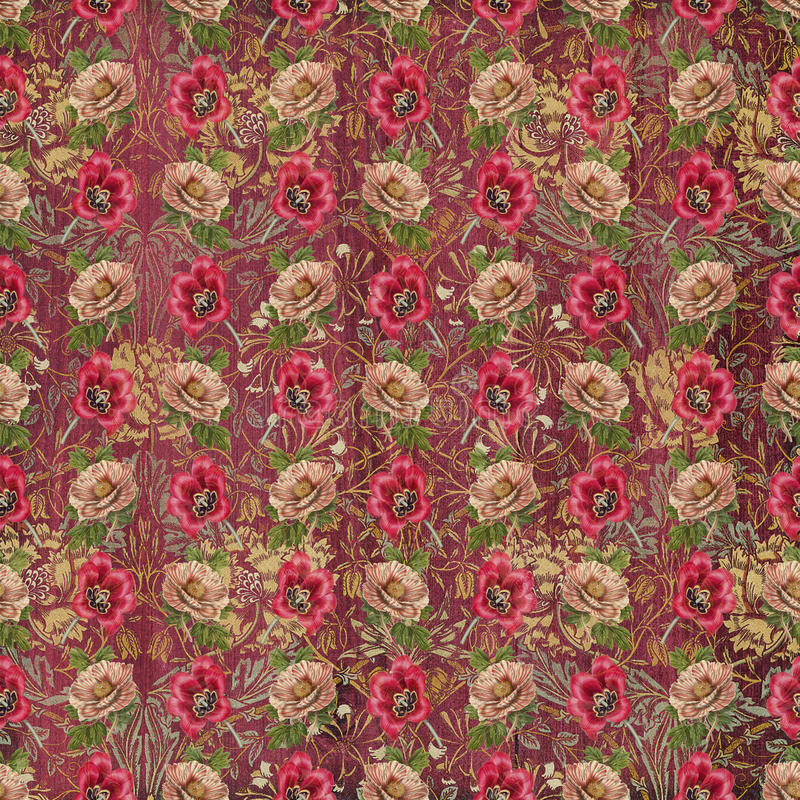 Old vintage tapestry flower wallpaper. Template for decoration and design vector illustration