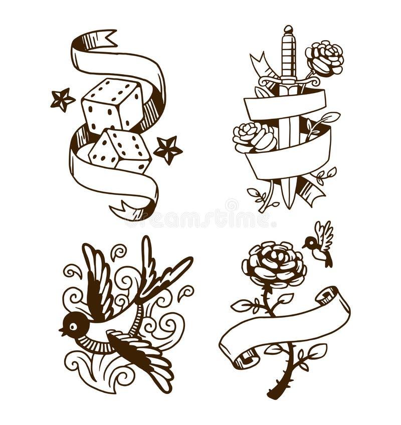 Download Old Vintage Tattoo Vector Illustration Stock