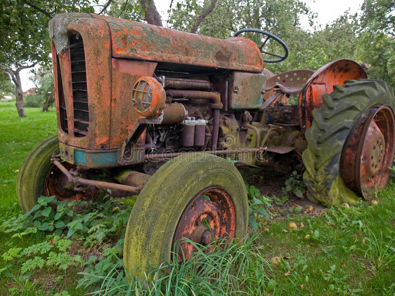 Old vintage tractor stock photography
