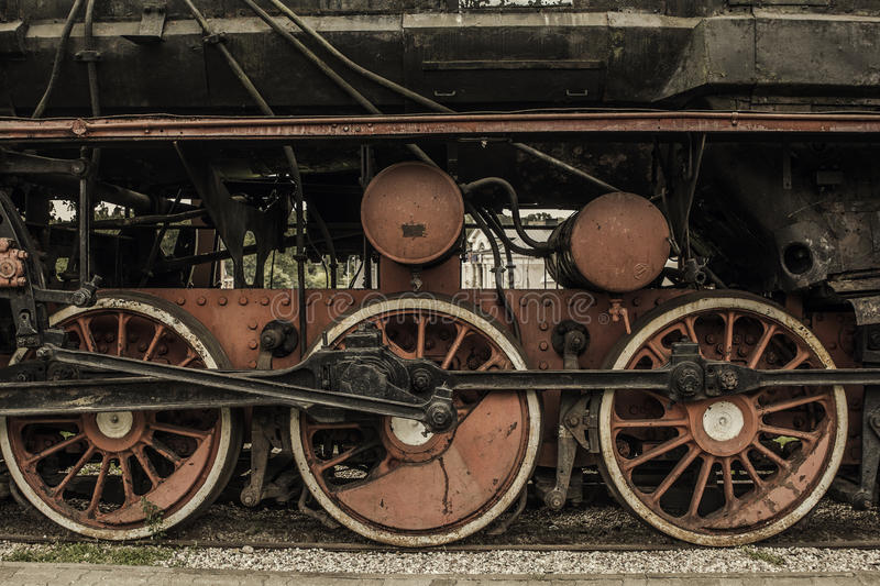 Steam Engine Wheel Driving : Old vintage train wheels stock photo image