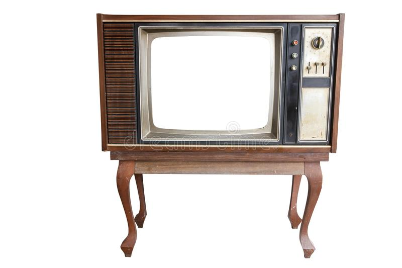 Old vintage TV. Isolated on white royalty free stock photos