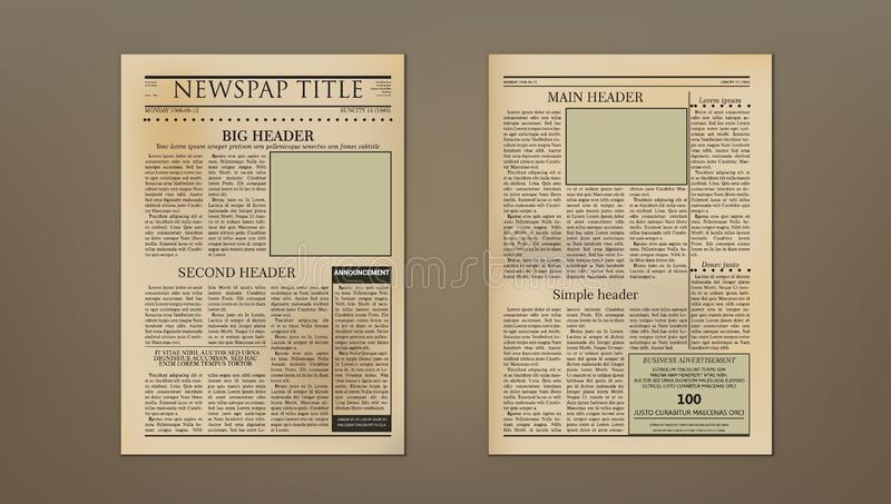 Old Vintage Two Pages Newspaper Layout Template stock illustration